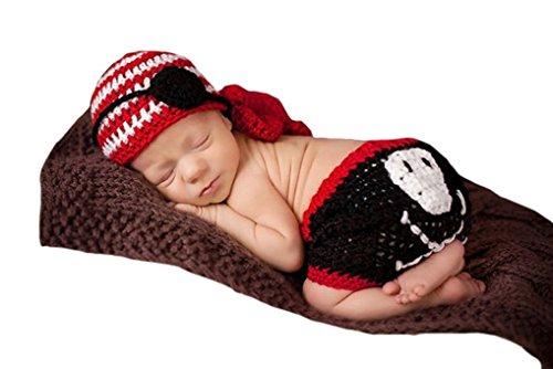 Ufraky Newborn Baby Crochet Knit Pirate Style Photo Prop Hat Shorts Costume Set (Cartoon Pirate Hat)