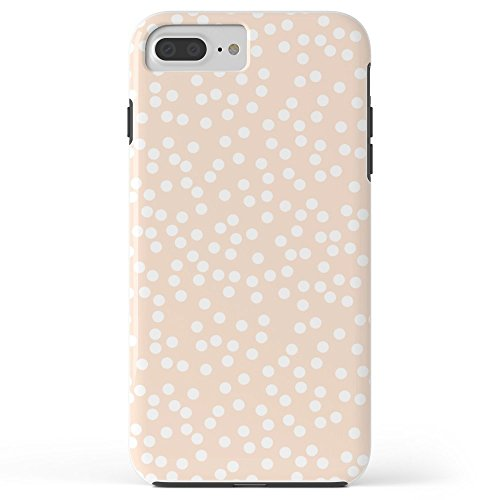 (Roses Garden Phone Case Protectivedesign Cell Case Peach And White Polka Dot Pattern Tough Case iPhone 7 Plus)