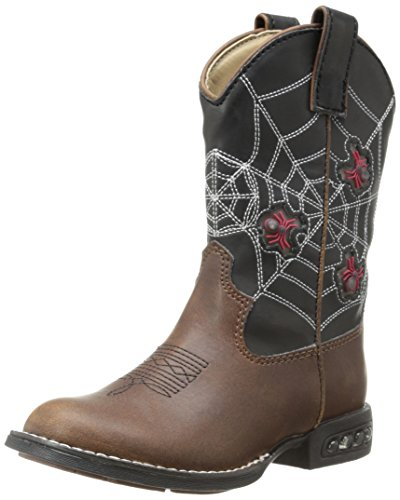 Roper Light Up Spiders Western Boot (Toddler/Little Kid),Brown/Black,11 M US Little Kid