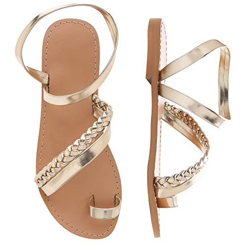 Shoe'N Tale Women Toe Ring Gladiator Flat Sandals Elegant Strappy Flip Flops Casual Comfortable Beach Shoes (6.5 M US, Rose Gold) ()