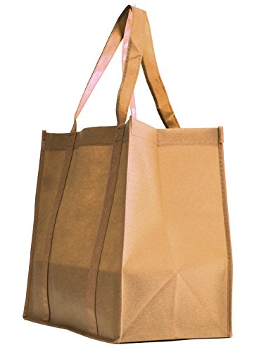 Grocery Tote Bag, Large & Super Strong, Heavy Duty Shopping Bags with Stand-up PL Bottom, Non-Woven Convention Reusable Tote Bags, Premium Quality (Set of 10, -