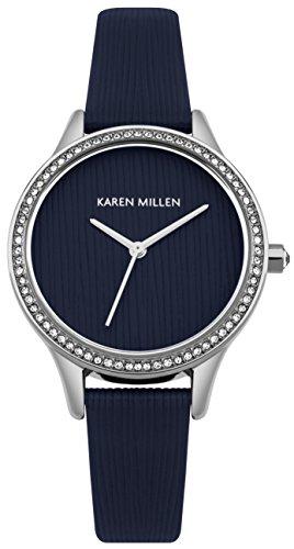 Karen Millen Women's Quartz Silver-Tone and Leather Casual Watch, Color:Blue (Model: - Karen Shop Millen