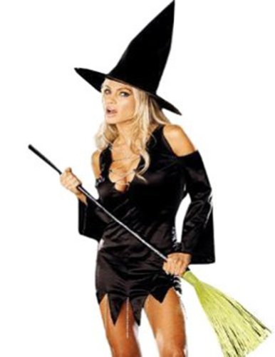 2 Pc. Women's Wicked Glam Rhinestone Witch Costume Sexy Dress (Large (Sexy Rhinestone Witch Costumes)