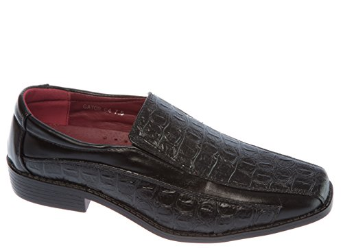 Alberto Fellini Mens Slip-on Loafer Mode Pu Läder Finskor För Bröllopsfest Kontorsarbete Kyrka Eller Annan Formell Händelse Svart