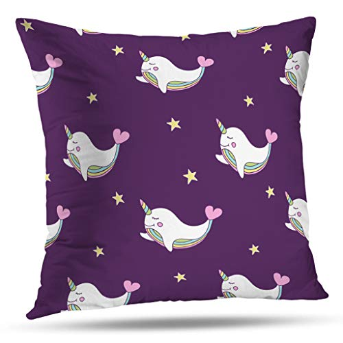 Kutita Rainbow Decorative Pillow Covers, Simple Cute with Stars Rainbow Whale Hearts Book Gift Wrap and Throw Pillow Decor Bedroom Livingroom Sofa 18X18 inch ()