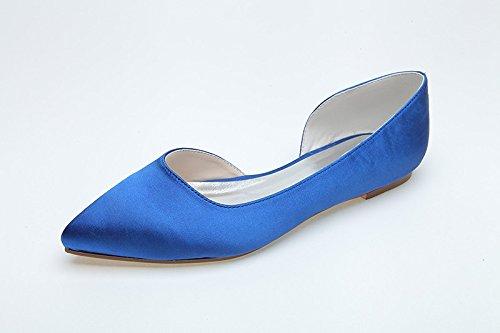 Scarpe da donna della pompa del tallone delle donne Sandal Flat Bottom Inside Vuoto, Blu, US5 / EU35 / UK3