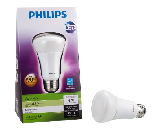 046677424374 - Philips 424374 7-Watt (40-Watt) A19 LED Household Soft White Light Bulb, Dimmable carousel main 2