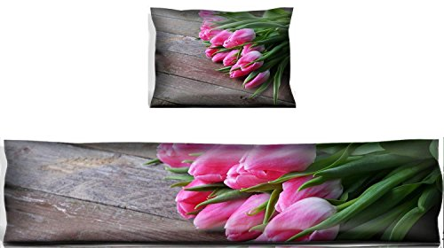 MSD Mouse Wrist Rest and Keyboard Pad Set, 2pc Wrist Support IMAGE 26957914 bouquet of fresh pink tulips on wooden background