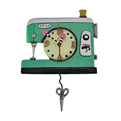 Allen Designs `Stitch` Sewing Machine Pendulum Wall Clock