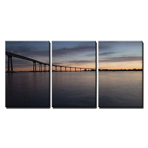 - wall26 - 3 Piece Canvas Wall Art - San Diego–Coronado Bridge at Dusk - Modern Home Decor Stretched and Framed Ready to Hang - 24