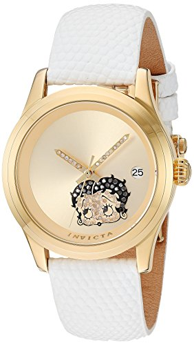 Invicta Women's 'Character Collection' Automatic Stainless Steel and Leather Casual Watch, Color:White (Model: 24495)
