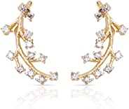 Ear Climber Earrings - Ear Crawler Gold Earrings For Women CZ Diamonds Cuff Earring Delicate Modern Jewelry St