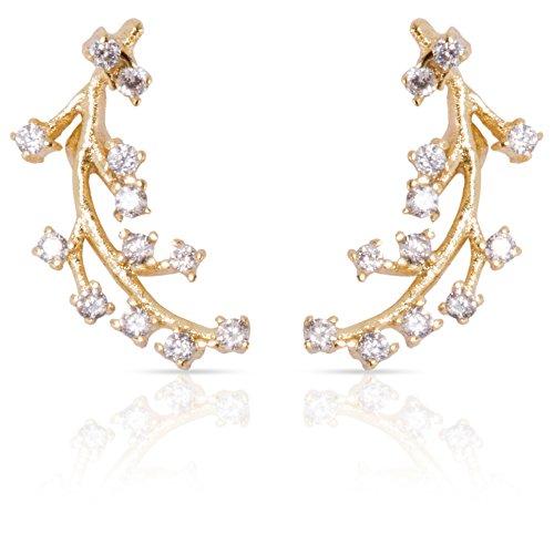 Ear Climbers Gold Leaf Crawlers Earrings CZ Diamonds: Delicate Modern Jewelry Studs, Dainty Crystal Ear Climbers, Ear Cuffs (14k Gold) - 14k Gold Bezel Stud Earrings