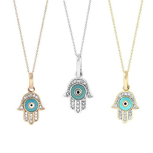 (TousiAttar Hamsa Hand Necklace - Evil Eye pendant - Nice Diamond necklaces – 14K Real Solid Rose White Yellow Gold For Her- Cute pendants for women )