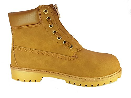 Shoes Scarpe da Passeggio Scarponcino modelo simile lumberjak o Timberland Donna Ragazza Moda Tacco Basso cm 3 TG 39 Colore Beige Tessuto Fin Pelle con Lacci