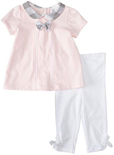 ABSORBA Baby-Girls Infant Love Girls Tunic Legging Set, White/Pink, 18 Months