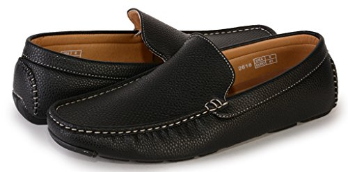 [2618-black-11] Men's Slip-On Driving Loafers Casual Shoes Comfort Boat Shoe
