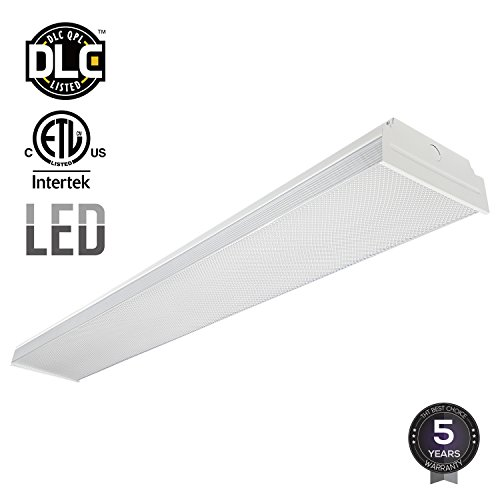 LEONLITE 4ft 40W LED Garage Shop Light Wraparound Flush Mount Ceiling Light, 100W Equiv. Ultra Bright 4000lm, Cool White 4000K for Laundry Rooms, Hallways, Offices, Workbenches