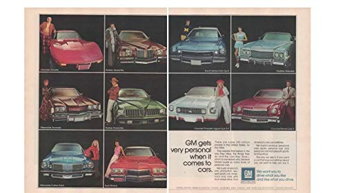 Magazine Print Ad: 1974 GM Models - Chevrolet Corvette-Chevelle Laguna S-3-Monte Carlo S, Pontiac Grand Prix-Grand Am, Cadillac Eldorado, Buick Century Grand Sport-Riviera, Oldsmobile Cutlass Salon-Toronado,