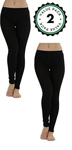 Leggings for Women, Ladies Black Soft and High Waist (2XL, (Jersey Ankle Leggings)