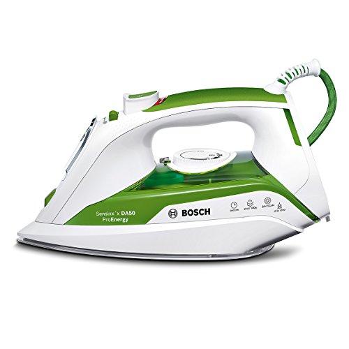 Bosch TDA502412E - Plancha de vapor, 2400 W, color verde y blanco