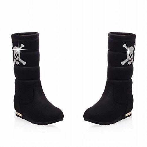 Latasa Womens Fashion Skull Elastic Suede Low-heel Mid-calf Snow Boots Black KnnSG2fY