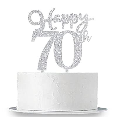 Happy 70th Cake Topper, Glitter Silver 70th Birthday Wedding Anniversary Party Cake Topper Decoration Sign