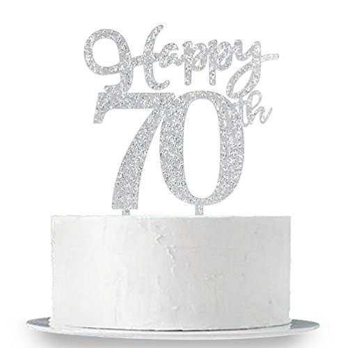 Happy 70th Cake Topper Glitter Silver Birthday Wedding Anniversary Party Decoration Sign