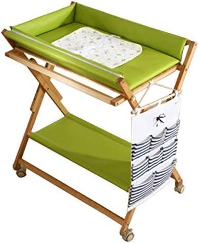赤ちゃんのおむつ替え台折りたたみ式 安全ストラップ付き スペースを節約 幼児用おむつステーション 保育園オーガナイザー 0〜2歳の新生児、 多機能 (緑)