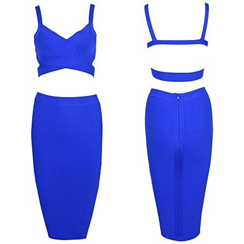 Set Blau Piece Pure Length Knee Color HLBandage Dress Women Bandage 2 ZnvqE4fx