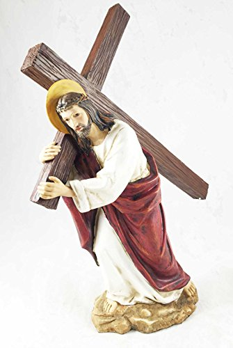 Jesus Carrying the Cross Statue Home Decor Atonement Figurine Christ Pure Faith (Jesus Christ Carrying Cross)