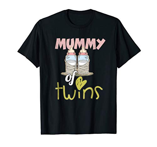 Mummy Of Twins Funny Halloween Costume Twin Mom T Shirt ()