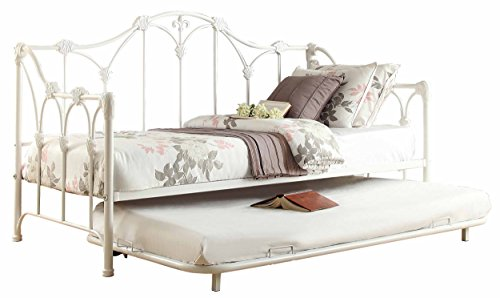 Homelegance 4961DB-NT Metal Daybed with Trundle, White Finish from Homelegance