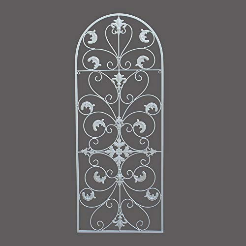 GB HOME COLLECTION gbHome GH-6777W Metal Wall Decor, Decorative Victorian Style Hanging Art, Steel Dcor, Window Arch Design, 16.5 x 41.5 Inches, White
