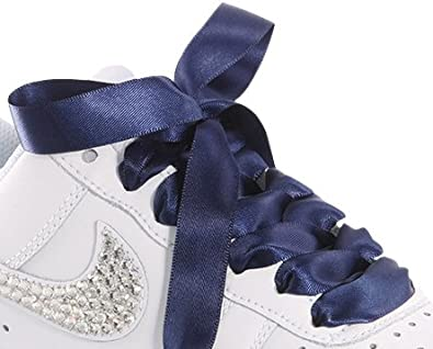7d058f7453ff8b High Fashion Navy Satin Ribbon Shoelaces   Shoe Strings   Trainer Shoe Laces  To Fit Nike