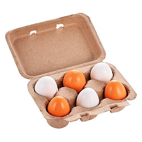 Natureich Set di 6 uova da cucina in legno per imparare a cucinare a partire dai 3 anni di et/à
