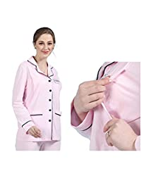 Maternity Nightwear Sets Ladies Pajamas Nursing Clothes Cotton Maternity Home Clothes Long-Sleeved Trousers Suit,Pink,M