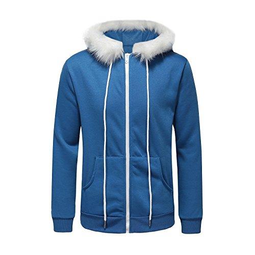 Ninstoke Unisex Hoodie Blue with White Decoration Hoodie