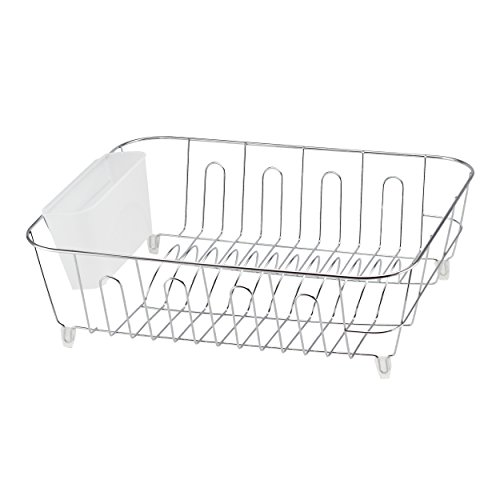 REAL HOME Innovations 14 by 17.5 by 5.25-Inch Dish Drainer, Large, Chrome ()