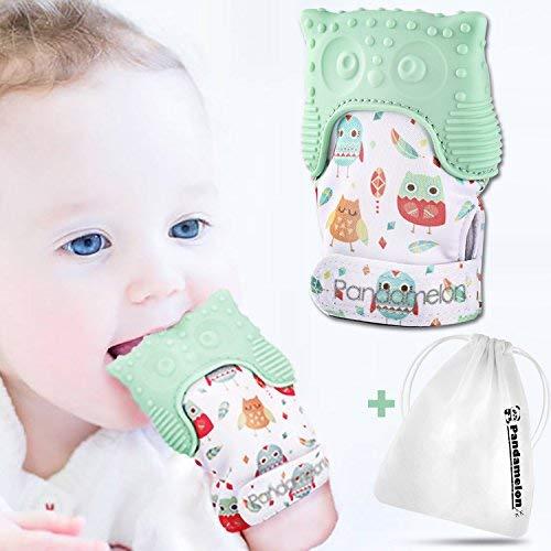Mitten Teether Toy Pack of 2 Infant Teething Mitt Set Cute Panda Teether Teething Mittens for Baby