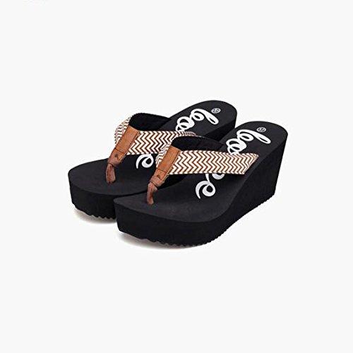 Tamaño sandalias CN35 3 Color UK3 sandalias manera las alto de Sandalias la del del aumento antideslizantes de 2 talón EU36 HqqnZBU