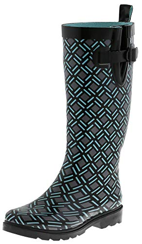 Capelli New York Ladies Minimalist Weave Printed Tall Rain Boots Black Combo 10