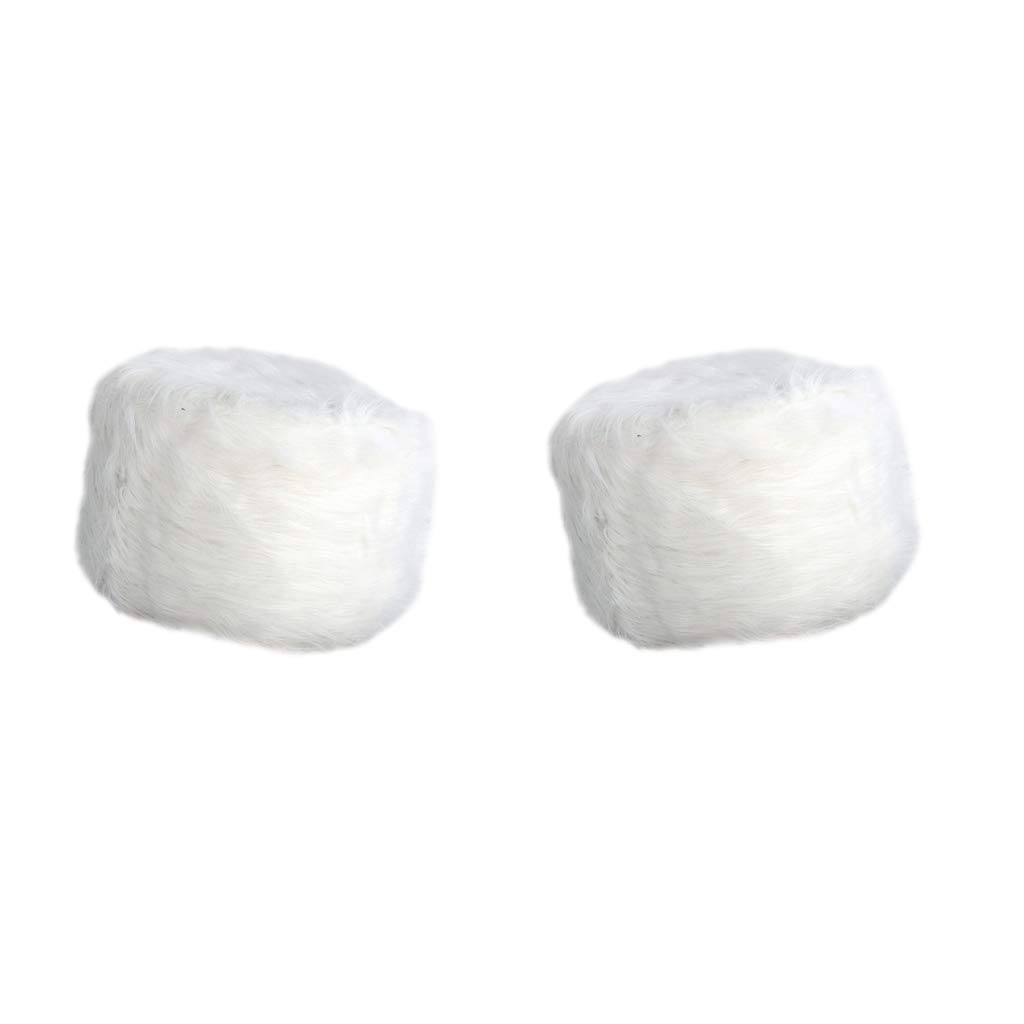 B Blesiya Foot Rest Stool Covers Luxuries Fluffy Round Chair Seat Slip Covers-White 11''x11'' 2 PCS Pack