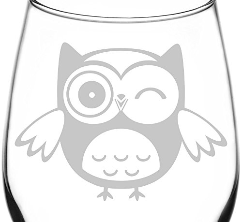 (Winking) Cute Cartoon Owl Facial Expression Inspired - Laser Engraved 12.75oz Libbey All-Purpose Wine Taster Glass]()