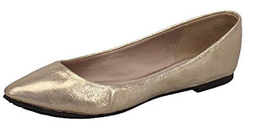 Breckelles Tammy-62 Womens Classic Pointy Toe Ballet Flat (5.5 B(M) US, Champagne)