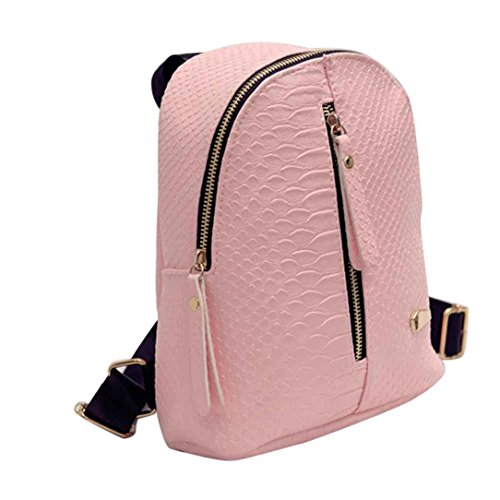 Fashion Shoulder Bag Rucksack PU Leather Women Girls Ladies Backpack Travel bag (Pink)