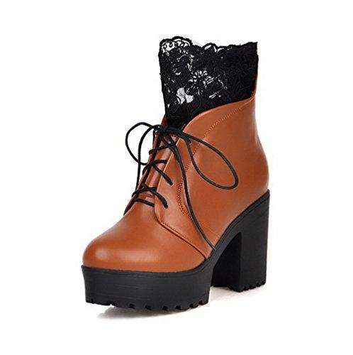 Allhqfashion Mujeres Low-top Zipper Soft Material High-heels Round Botas Cerrado Marrón
