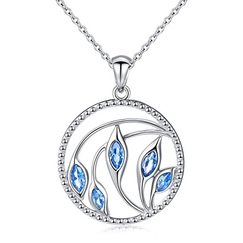 Calla Lily Jewelry Box (Mother's Day Gift 925 Sterling Silver Flower Jewelry Round Blue Calla Lily Pendant Necklace for Women, 18