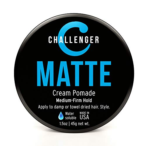 Matte Styling Cream - Challenger - Medium Firm Hold - Best Men's Styling Cream Pomade - Water Based, Clean & Subtle Scent. Men's Hair Wax, Fiber, Clay, Paste All In One