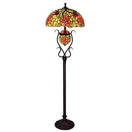 HT Tiffany 18 inch Rose Stained Glass Floor Lamp Double Light Oval Living Room Bedroom - Iron Floor Lamp Oval